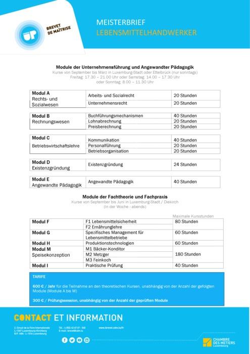 Infoblatt - Lebensmittelhandwerker - 150-00-DE