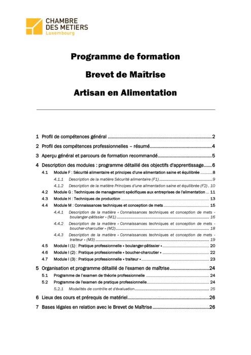 Programme cadre - 150-00 - Artisan en alimentation
