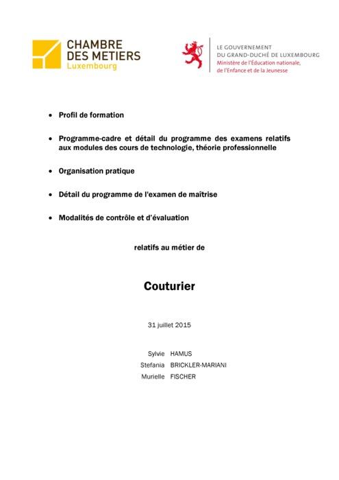 Programme cadre - 202-00 - Couturier-tailleur