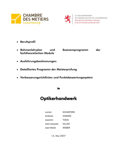 Rahmenlehrplan - 209-00 - Optiker