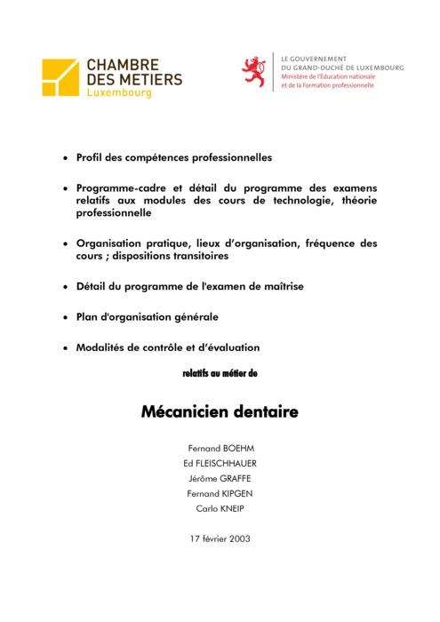 Programme cadre - 210-00 - Prothésiste dentaire