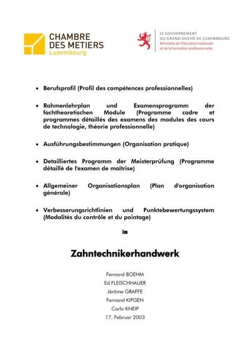 Rahmenlehrplan - 210-00 - Zahntechniker