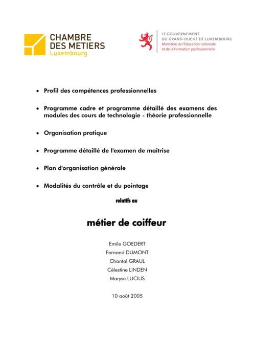 Programme cadre - 214-00 - Coiffeur