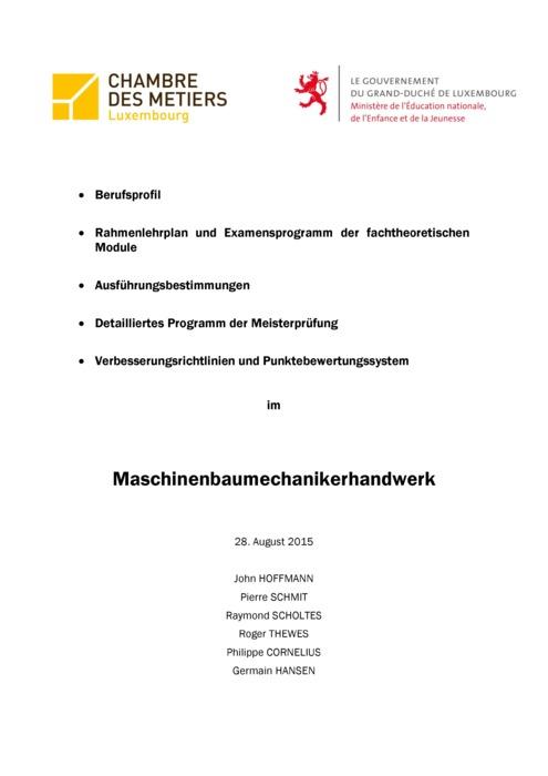 Rahmenlehrplan - 301-00 - Maschinenbaumechaniker