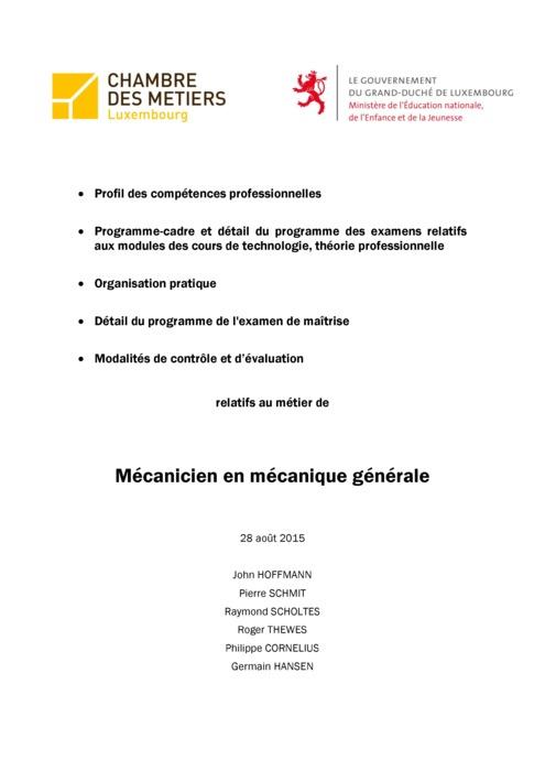 Programme cadre - 301-00 - Mécanicien en mécanique générale