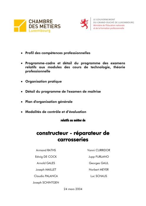 Programme cadre - 305-00 - Constructeur-réparateur de carrosseries