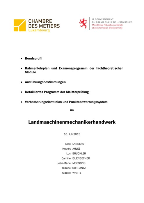 Rahmenlehrplan - 312-00 - Landmaschinenmechaniker