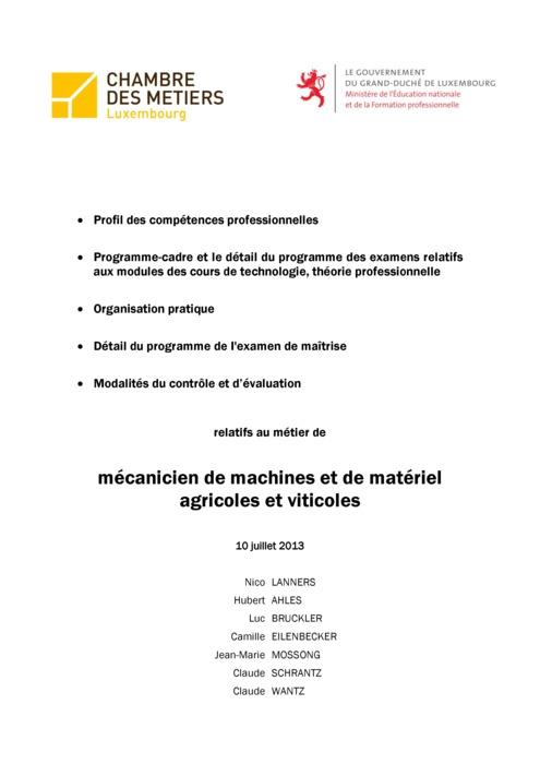 Programme cadre - 312-00 - Mécanicien de machines et de matériel agricoles et viticoles