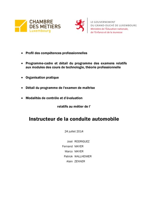 Programme cadre - 318-00 - Instructeur de la conduite automobile