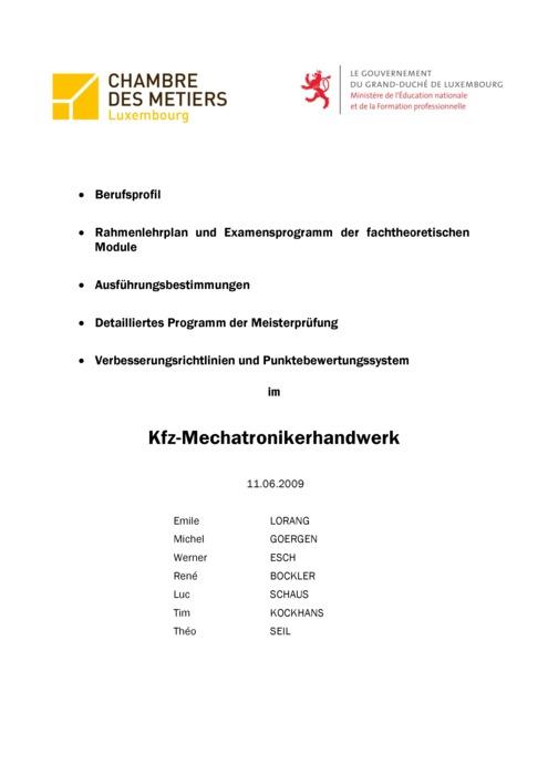 Rahmenlehrplan - 320-00 - Kfz-Mechatroniker