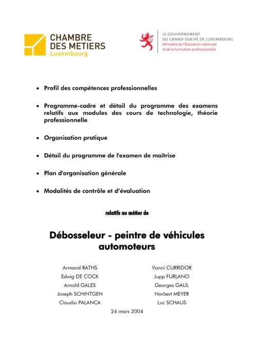 Programme cadre - 321-00 - Débosseleur-peintre de véhicules automoteurs