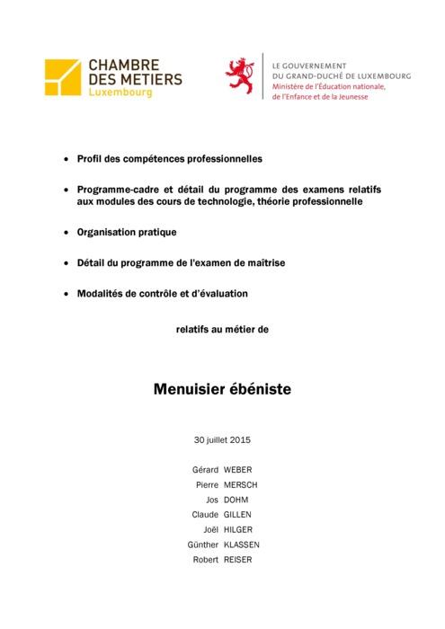 Programme cadre - 408-00 - Menuisier-ébéniste