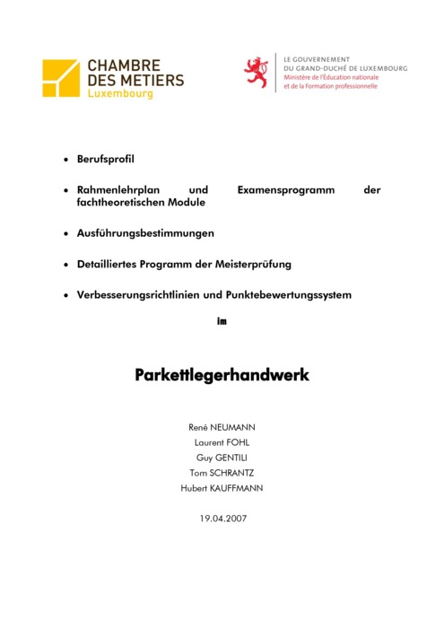 Rahmenlehrplan - 408-03 - Parkettleger