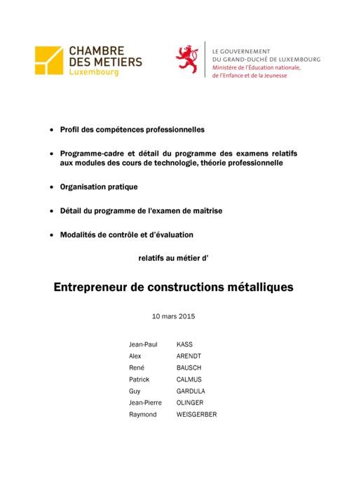 Programme cadre - 410-00 - Entrepreneur en constructions métalliques