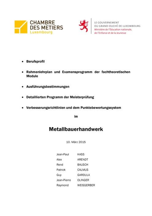 Rahmenlehrplan - 410-00 - Metallbauunternehmer