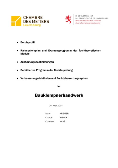 Rahmenlehrplan - 415-00 - Klempner