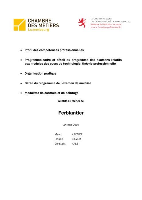 Programme cadre - 415-00 - Ferblantier-zingueur