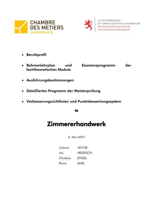 Rahmenlehrplan - 416-00 - Zimmerer