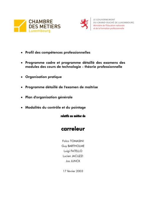 Programme cadre - 418-00 - Carreleur