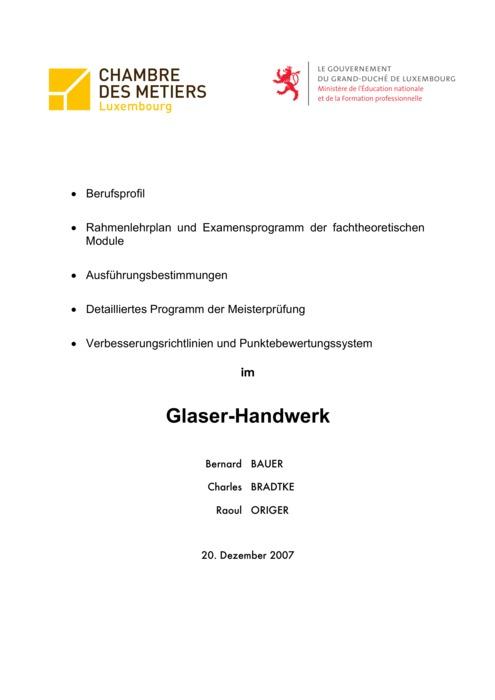 Rahmenlehrplan - 421-00 - Glaser