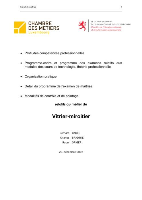 Programme cadre - 421-00 - Vitrier-miroitier
