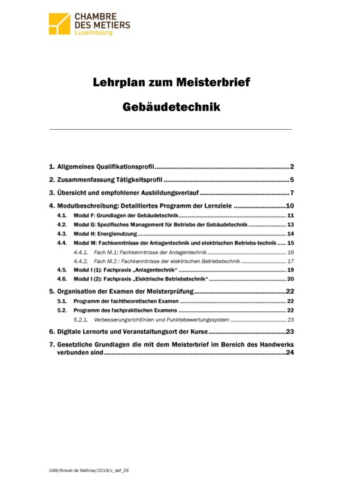 Rahmenlehrplan - 450-00 - Gebäudetechniker