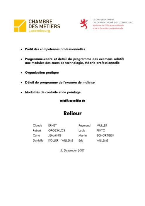 Programme cadre - 506-00 - Relieur
