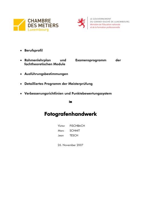 Rahmenlehrplan - 507-00 - Fotograf