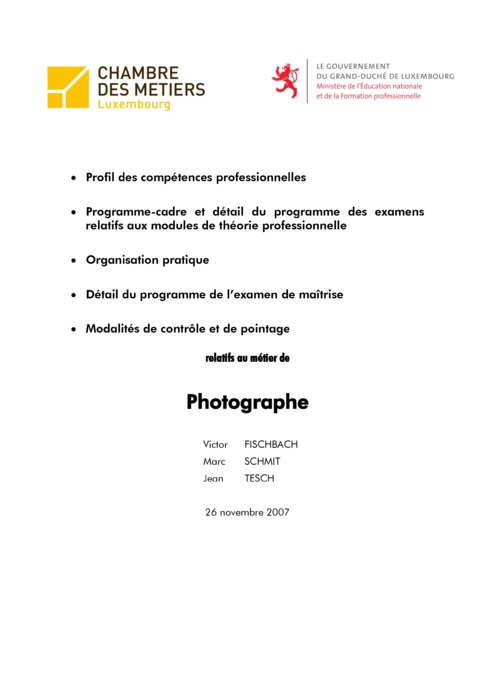 Programme cadre - 507-00 - Photographe