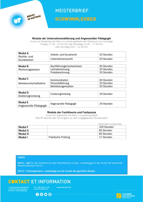 Infoblatt - 609-00 - Schwimmlehrer
