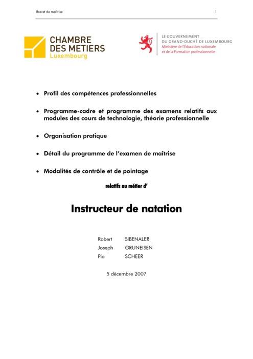 Programme cadre - 609-00 - Instructeur de natation