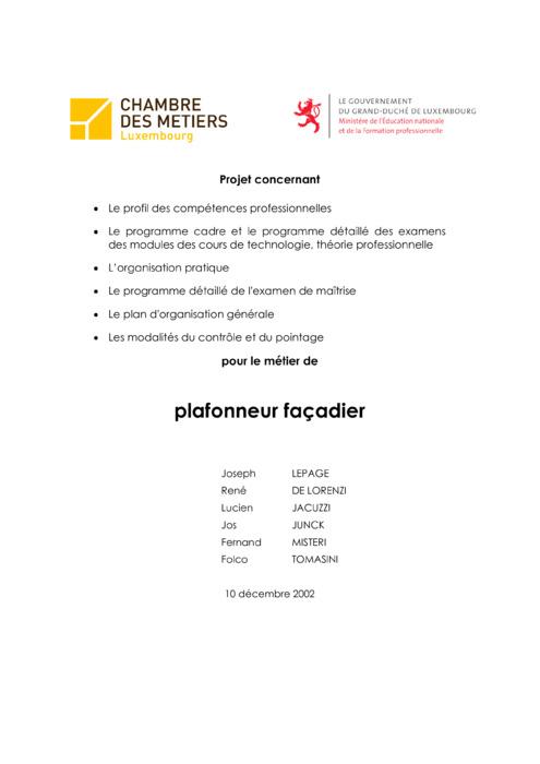 Programme cadre - 419-00 - Plafonneur-façadier