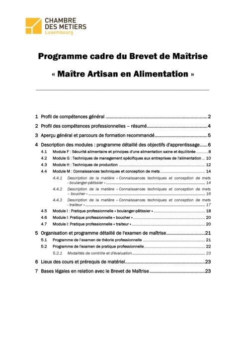 Programme cadre - Artisan en alimentation - 150-00-FR