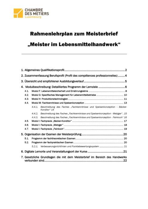 Rahmenlehrplan - Lebensmittelhandwerker - 150-00-DE